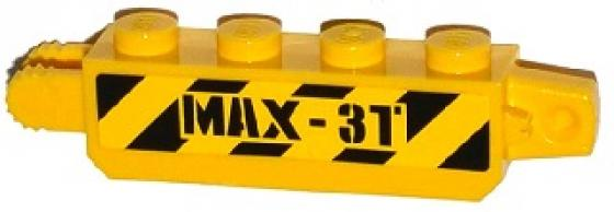 LEGO Yellow Hinge Brick 1 x 4 Locking with Black and Yellow Danger Stripes